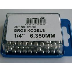 KOGELS 1/4 6.350mm MARABU GROS BRACKET+ ACHTERNAAF 144 stuks