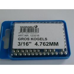 KOGELS 3/16 4.762mm MARABU  GROS VOORNAAF 144 stuks